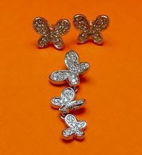 "Picture of ""Butterfly"" set of pendant and stud earrings in sterling silver and cubic zirconia"