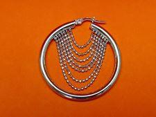 """Afbeelding van """"Diamant geslepen kralen"""" Italiaanse creolen (medium), oorbellen in sterling met kettinkjes van diamant geslepen kralen"""