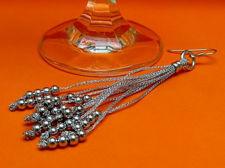 """Afbeelding van """"Fancy Net"""" bengelende oorbellen volledig in sterling zilver met 10 kettinkjes afgewerkt met gepolijste ronde kralen"""
