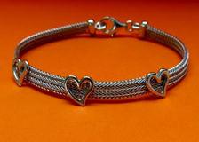 """Picture of """"Herringbone heart"""" bracelet in Italian sterling silver"""