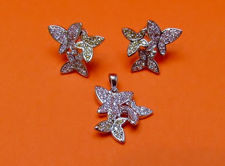 "Picture of ""Butterfly Kaleidoscope"" set of pendant and stud earrings in sterling silver with pastel cubic zirconia"