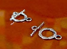 Picture of 10x10 mm, sterling silver clasp, toggle, flat round, scroll circle