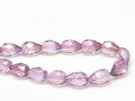 Image de 10x7 mm, perles à facettes tchèques gouttes, transparentes, lustrées violet améthyste