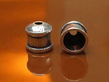 Picture of 11.6x10.7 mm, cord end caps, 9 mm hole, JBB findings, hammered silver-plated pewter, 2 pieces