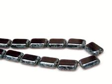 Picture of 12x8 mm, flat rectangular Czech beads, amethyst black, translucent, picasso