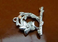 Picture of 18x14 mm, toggle clasp, starflower, JBB findings, silver-plated brass