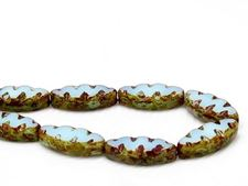 Picture of 18x7 mm, carved, flat spindle-shaped Czech beads, turquoise opal blue, opaque, picasso, 6 pieces