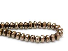 Image de 4x7 mm, perles à facettes tchèques rondelles, noires, opaques, lustre doré