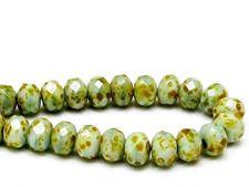 Image de 6x8 mm, perles à facettes tchèques rondelles, vert céladon, opaque, picasso