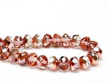 Picture of 6x8 mm, Czech faceted rondelle beads, crystal, transparent, half tone rose gold mirror