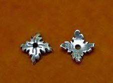 Afbeelding van 8 mm, kralenkapjes, vierkant, JBB findings, verzilverd tin, 2 stuks
