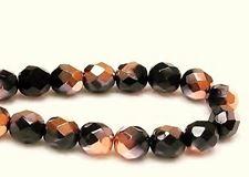 Image de 8x8 mm, perles à facettes tchèques rondes, noires, opaques, miroir partiel or rose