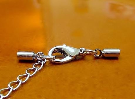 Picture of Clasp with cord end caps, 3 mm, rhodium-plated copper, 3 pieces