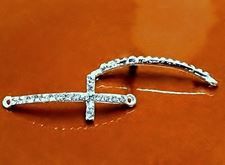 Picture of Connector, cross, rhodium-plated, pavé crystal