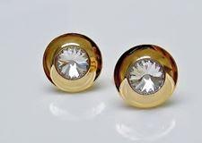 Image de Boutons de manchette, dôme rond, crystal transparent au centre, doré