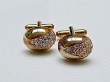 Image de Boutons de manchette, ovale, dôme, cristaux transparents en V, doré