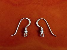 Picture of French hook ear wires, 14x20 mm, with coil, ball and loop, sterling silver, 1 pair
