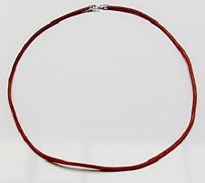 Picture of Leather necklace cord, 3 mm, natural color, sterling silver clasp