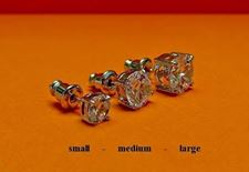 "Picture of ""Brilliant cut"" modern stud earrings, sterling silver, round cubic zirconia, medium, 7.7 mm"