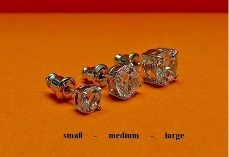 """Afbeelding van Oorknopjes in """"briljant slijpvorm"""", sterling zilver, ronde kubiek zirkonia, small, 5 mm"""