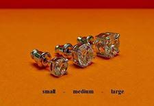 """Image de Clous d'oreilles, """" taillerond brillant """", argent sterling, zircone cubique ronde, médium, 7 mm"""