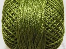 Picture of Pearl cotton, size 8, medium light avocado green, shiny