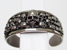 Image de Bracelet en acier inoxydable orné de têtes de mort, largeur 28 mm, grande taille