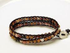 Picture of Wrap bracelet, gemstone beads, Mookaite Windalia Radiolarite,