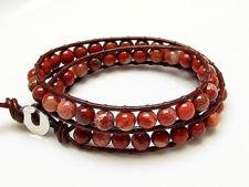 Image de Bracelet wrap en cuir, perles pierres gemmes, jaspe pavot nouveau