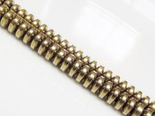 Afbeelding van 3x6 mm, convexe rondellen, edelsteen kralen, hematiet, licht goudgeel gemetalliseerd