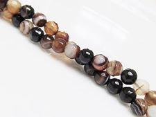 Image de 6x6 mm, perles rondes, pierres gemmes, agate à rayures naturelle, brun caramel et brun foncé, à facettes