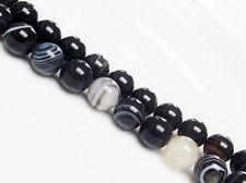 Picture of 10x10 mm, round, gemstone beads, natural striped agate, black
