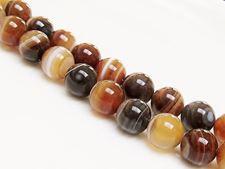 Afbeelding van 10x10 mm, rond, edelsteen kralen, natuurlijke gestreepte agaat, karamel tot diep bruin