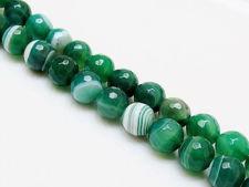 Afbeelding van 10x10 mm, rond, edelsteen kralen, natuurlijke gestreepte agaat, muntgroen tot smaragdgroen, in facetten