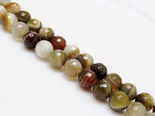 Picture of 10x10 mm, round, gemstone beads, natural striped agate, shades of moss green, faceted