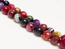 Picture of 10x10 mm, round, gemstone beads, natural striped agate, multicolored, faceted