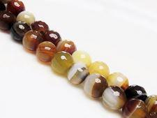 Image de 10x10 mm, perles rondes, pierres gemmes, agate à rayures naturelle, brun jaune, à facettes