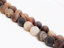 Afbeelding van 10x10 mm, rond, edelsteen kralen, natuurlijke gestreepte agaat, karamel tot diep bruin, mat
