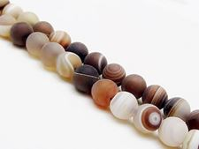 Afbeelding van 8x8 mm, rond, edelsteen kralen, natuurlijke gestreepte agaat, karamel tot diep bruin, mat
