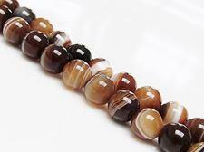 Afbeelding van 8x8 mm, rond, edelsteen kralen, natuurlijke gestreepte agaat, karamel tot diep bruin