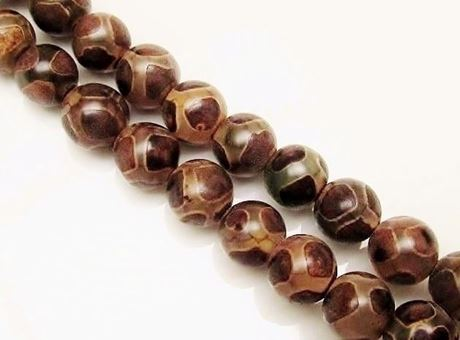 Image de 10x10 mm, perles rondes, pierres gemmes, agate, style tibétain, brun et blanc