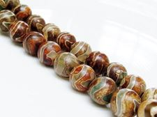 Picture of 10x10 mm, round, gemstone beads, agate, Tibetan style, greenish white and beige brown swirl
