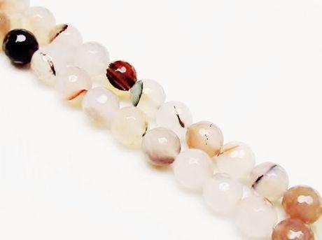 Image de 10x10 mm, perles rondes, pierres gemmes, agate, blanche, naturelle, avec inclusions végétales, à facettes