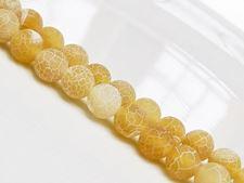 Afbeelding van 8x8 mm, rond, edelsteen kralen, craquelé agaat, geel, mat