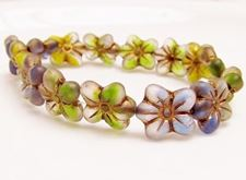 Picture of 14x13 mm, pressed Czech beads, cherry blossom flower, mix of variegated colors, matte, old gold patina