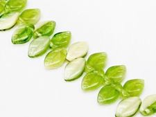 Picture of 12x7 mm, Czech druk beads, wavy leaf, lime green & cream