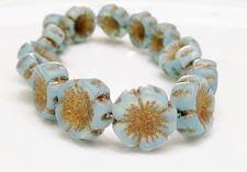Picture of 14x14 mm, Czech druk beads, Hawaiian flower, sky blue, matte, patina old gold effect