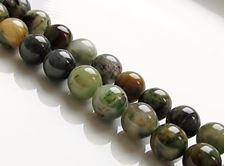 Afbeelding van 8x8 mm, rond, edelsteen kralen, Chinese jade, groen, natuurlijk