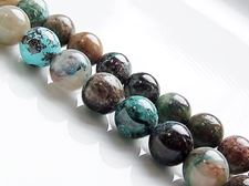 Picture of 8x8 mm, round, gemstone beads, azurite, natural