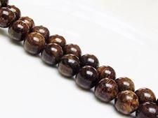 Image de 12x12 mm, perles rondes, pierres gemmes, bronzite, naturelle